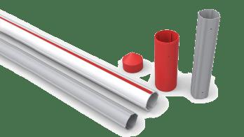 Rury ABS (czerwony pas) oraz aluminiowe Sisgeo